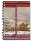 Winter Rocky Mountain Foothills Red Barn Picture Window Frame Ph Spiral Notebook