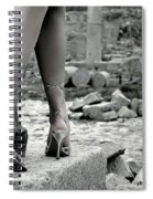 Woman Among Remains Of An Ancient Temple Spiral Notebook