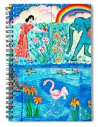 Woman And Blue Elephant Beside The Lake Spiral Notebook