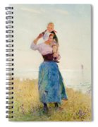 Woman And Child In A Meadow Spiral Notebook
