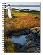 Woman By Boat On Grassy Shore Spiral Notebook