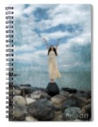 Woman By The Sea With Arms Reaching Up In Praise Spiral Notebook