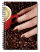 Woman Hand Holding A Cup Of Latte Spiral Notebook