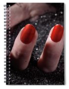 Woman Hand With Red Nail Polish Buried In Black Sand Spiral Notebook