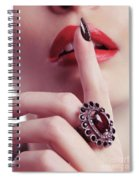 Woman Holding Index Finger To Her Lips Spiral Notebook