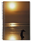 Woman In Conical Hat Collecting Shell Spiral Notebook