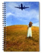 Woman In Field Looking Up At An Airplane Spiral Notebook
