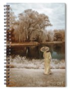 Woman In Vintage Dress With Parason By Lake Spiral Notebook