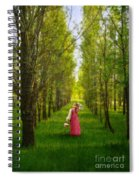 Woman In Vintage Pink Dress Walking Through Woods Spiral Notebook