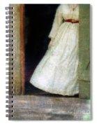 Woman In Vintage Victorian Era Dress In Doorway Spiral Notebook