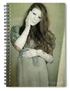 Woman In White Mask Wearing 1930s Dress Spiral Notebook