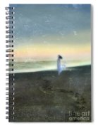 Woman On Beach At Dawn Spiral Notebook
