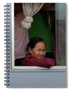 Woman On Bus Laos Spiral Notebook