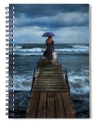 Woman On Dock In Storm Spiral Notebook