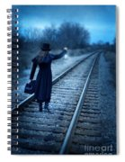 Woman On Tracks Night Spiral Notebook