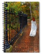 Woman Walking In Long White Gown Spiral Notebook