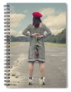 Woman With Red Rose Spiral Notebook