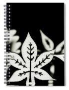 Wooden Leaf Shapes In Black And White Spiral Notebook