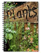 Wooden Plant Sign In Flowers Spiral Notebook