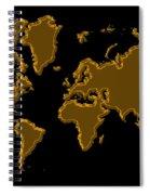 World Map Gold Spiral Notebook