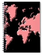 World Map Pink Spiral Notebook