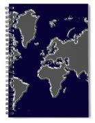 World Map Silver Spiral Notebook
