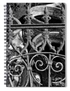 Wrought Iron Gate And Pots Black And White Spiral Notebook