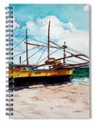 Yellow Boat Docking On The Shore Spiral Notebook