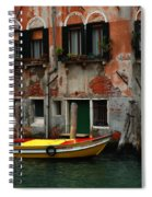 Yellow Boat Venice Italy Spiral Notebook