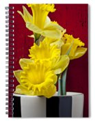 Yellow Daffodils In Checkered Vase Spiral Notebook
