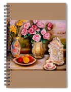 Yellow Daffodils Red Roses  Peaches And Oranges With Tea Cup  Spiral Notebook