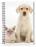 Yellow Lab And Burmese Cat Spiral Notebook
