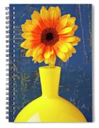 Yellow Mum In Yellow Vase Spiral Notebook