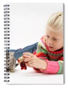 Young Girl With Silver Tabby Kitten Spiral Notebook
