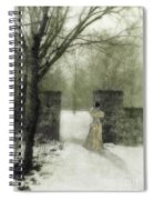 Young Lady By Stone Pillar In Snow Spiral Notebook