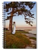 Young Lady In Edwardian Clothing By The Sea Spiral Notebook