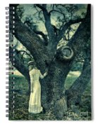 Young Lady In White By Tree Spiral Notebook