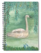 Young Swan Under Willow Tree Spiral Notebook