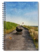 Young Woman And Baby Buggy On Dirt Road  Spiral Notebook
