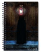 Young Woman In Black Lantern In Front Of Her Face Spiral Notebook