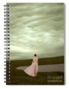 Young Woman In Long Gown By Pond Spiral Notebook