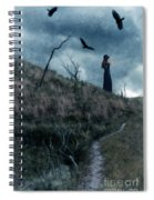 Young Woman On Creepy Path With Black Birds Overhead Spiral Notebook