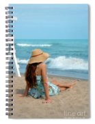 Young Woman Sitting On A Beach Spiral Notebook