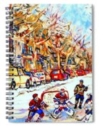 Hockey Game On Colonial Street  Near Roy Montreal City Scene Spiral Notebook