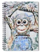 Monkey Rainbow Splattered Fragmented Blue Spiral Notebook