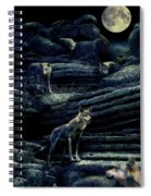 Moonlit Wolf Pack Spiral Notebook