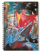 Patty's Harbour Original Abstract Colorful Landscape Painting For Sale Blue Green Red Spiral Notebook