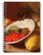 Still Life Of Raspberries Lemons And Asparagus  Spiral Notebook