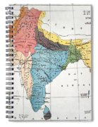 India: Map, 19th Century Spiral Notebook