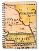 Kansas-nebraska Map, 1854 Spiral Notebook